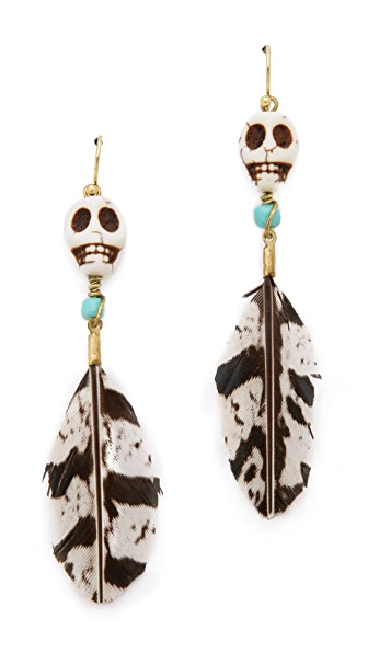 Maison Scotch Skull Feather Earrings