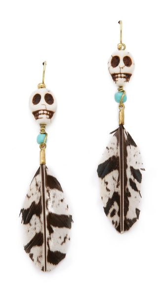 Maison Scotch Skull Feather Earrings