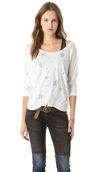 Maison Scotch Lace Tank Burnout Tee