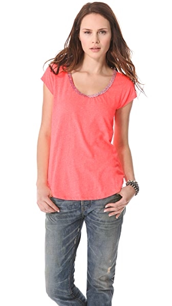Maison Scotch Linen Mix Tee with Special Neck Trim