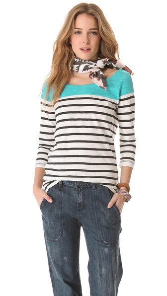 Maison Scotch Breton Stripe Top with Scarf