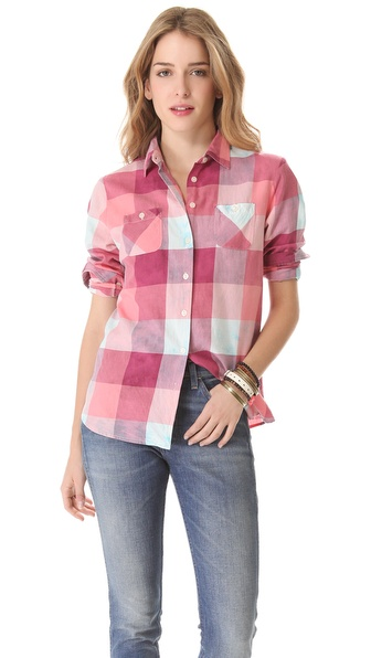 Maison Scotch Check Button Down Shirt
