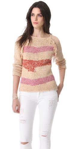 Maison Scotch Fringe Trim Sweater