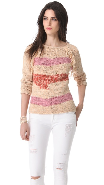 Maison Scotch Fringe Trim Sweater