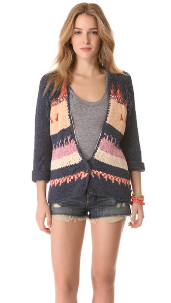 Maison Scotch Western Cardigan with Fringe