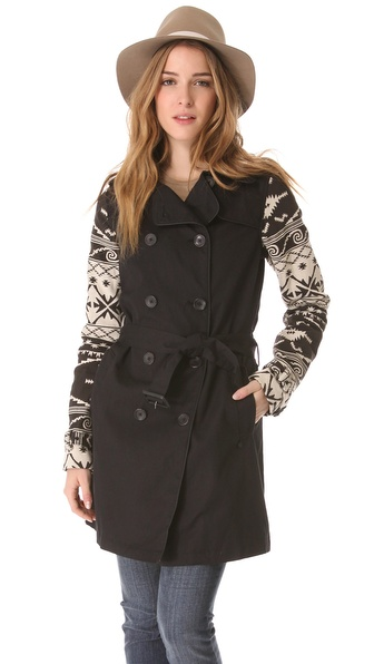 Maison Scotch Linen Trench Coat with Ikat Sleeves