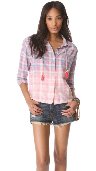 Maison Scotch Check Shirt with Tassel