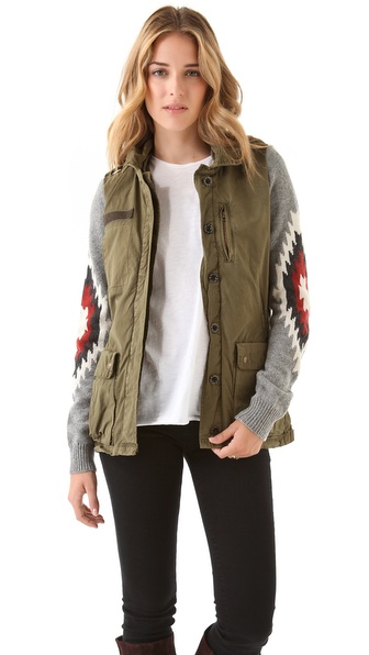 Maison Scotch Knit Sleeve Jacket