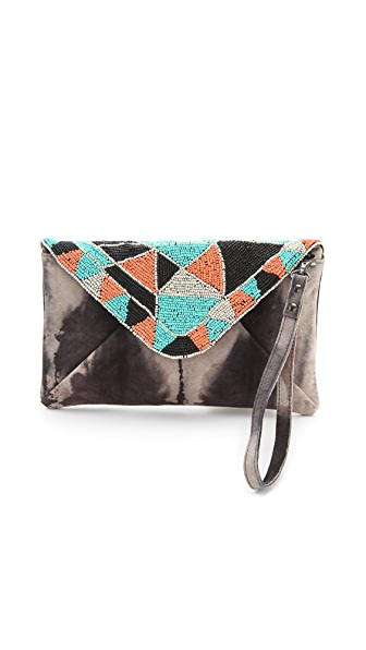 Maison Scotch Beaded Suede Clutch