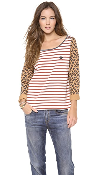 Maison Scotch Stripe & Print Top