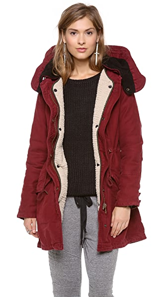 Maison Scotch Cotton Parka with Hood