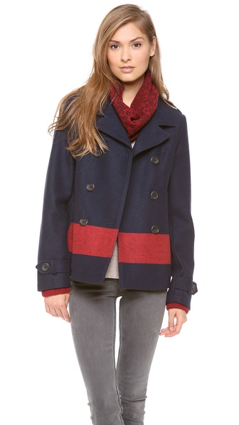 Maison Scotch Colorblock Stripe Pea Coat