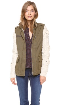 Maison Scotch Army Jacket with Knit Sleeves