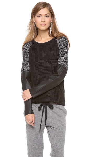 Maison Scotch Sweater with Faux Leather Sleeves