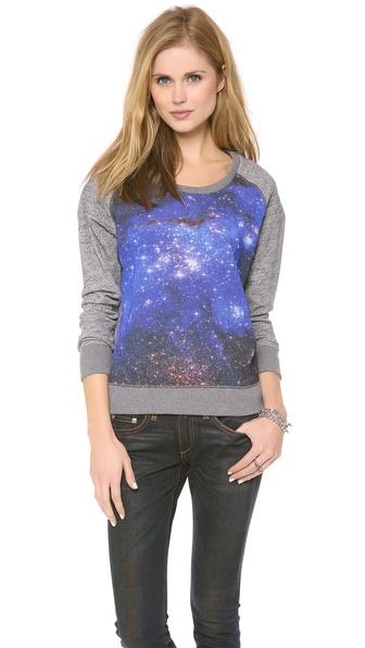 Maison Scotch Long Sleeve Sweater with Galaxy Print