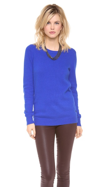 Maison Scotch Round Neck Sweater with Elbow Patches