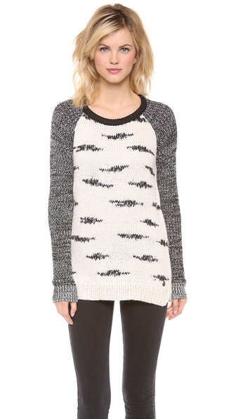 Maison Scotch Black and White Zebra Knit Sweater
