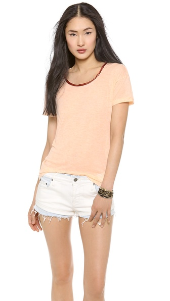 Maison Scotch Tee with Embroidered Neckline