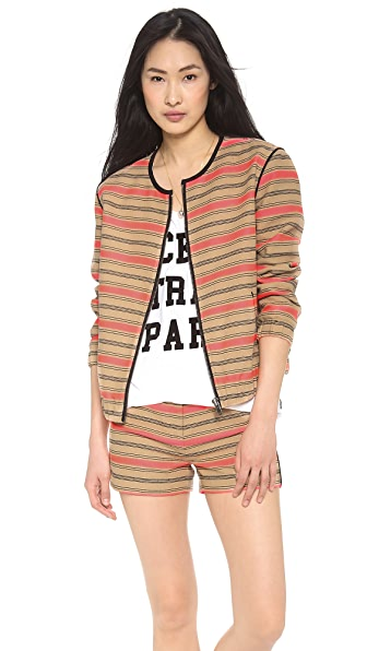 Maison Scotch Striped Raffia Summer Bomber