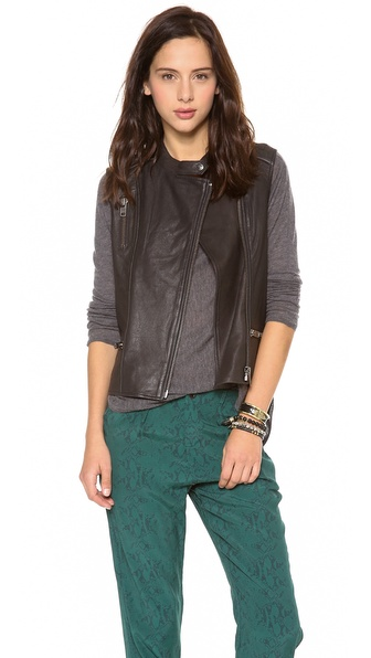 Maison Scotch Leather Biker Vest