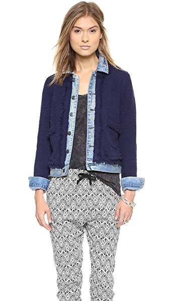 Maison Scotch Knitted Jacket with Denim Trucker Details