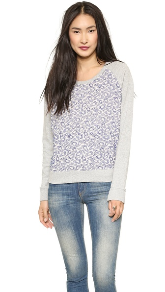 Maison Scotch Embroidered Mesh Sweater