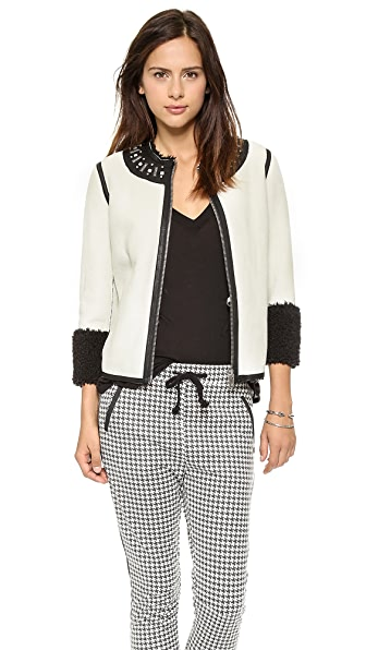 Maison Scotch Faux Shearling Bomber Jacket