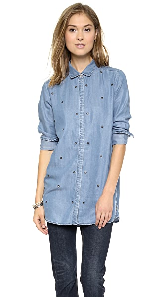 Maison Scotch Star Studded Button Down Shirt