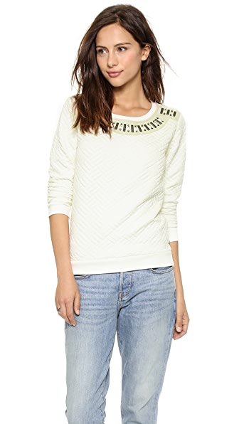 Maison Scotch Quilted Sweater with Stones