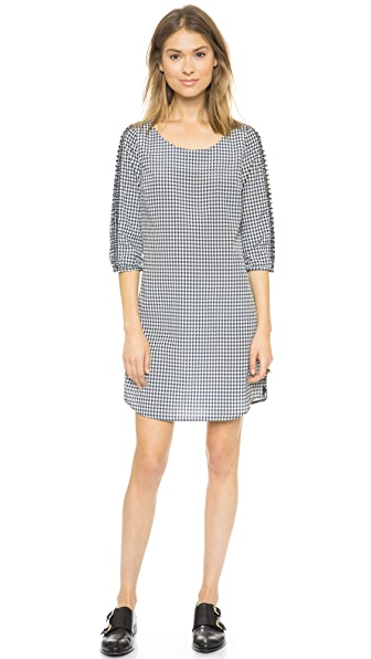 Maison Scotch Print Dress with Sleeve Detail
