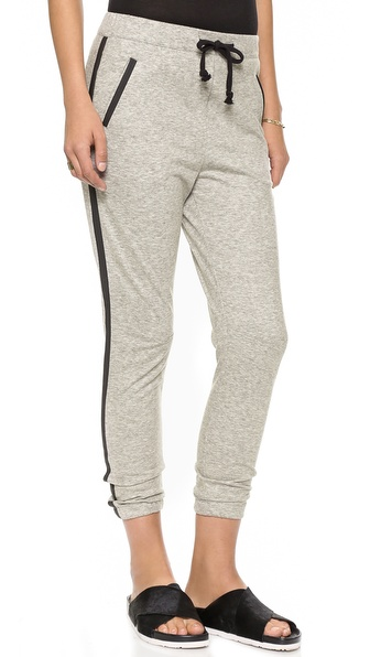 Maison Scotch Jogger Pants with Faux Leather Trim