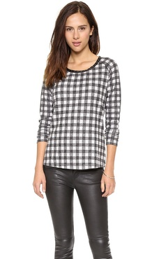 Maison Scotch Plaid Long Sleeve Top