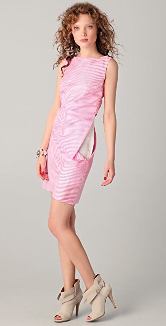MM6 Striped Asymmetrical Dress