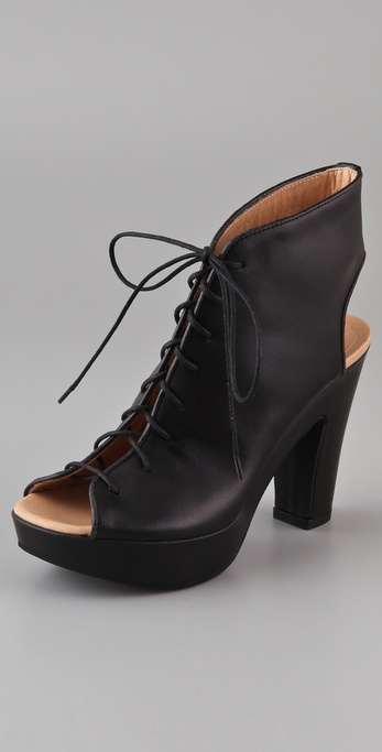 MM6 Maison Martin Margiela Open Toe Lace Up Booties