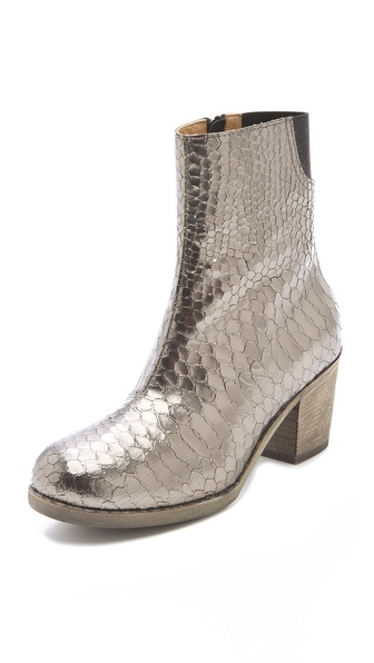 MM6 Maison Martin Margiela Metallic Booties in Python