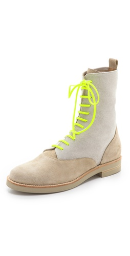 MM6 Maison Martin Margiela Lace Up Flat Boots