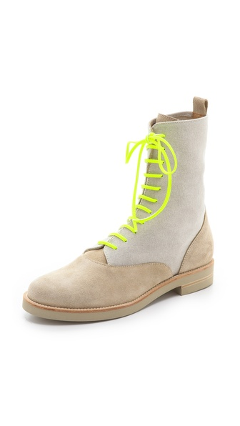 MM6 Maison Martin Margiela Lace Up Flat Boots