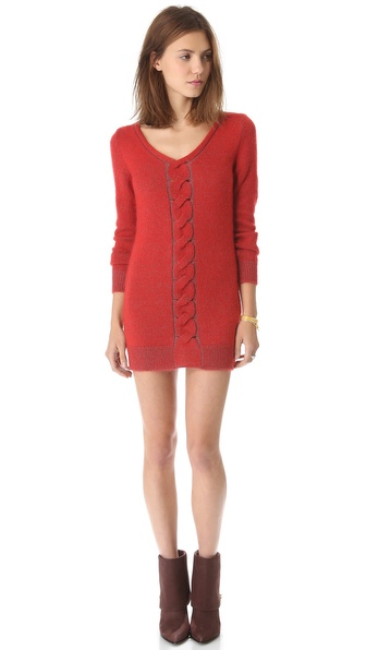 MM6 Maison Martin Margiela V Neck Long Sleeve Dress
