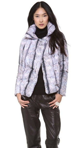 MM6 Maison Martin Margiela Silver Fox Puffer Coat