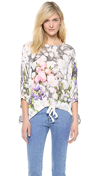 MM6 Maison Martin Margiela Flower Print Crop Drawstring Top