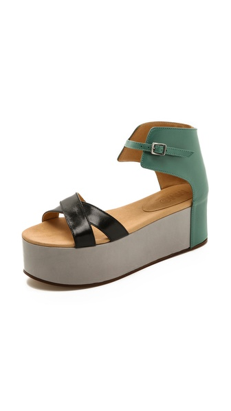 Mm6 Maison Martin Margiela Colorblock Platform Sandals - Black/Aqua/Grey at Shopbop / East Dane
