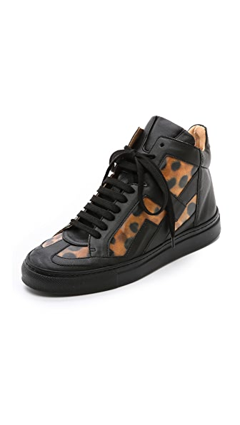MM6 Leopard High Top Sneakers