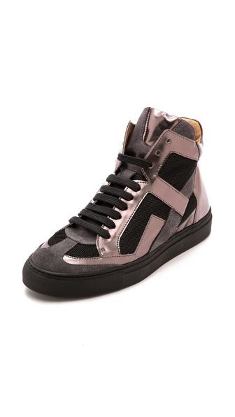 MM6 Maison Martin Margiela Mirrored High Top Sneakers
