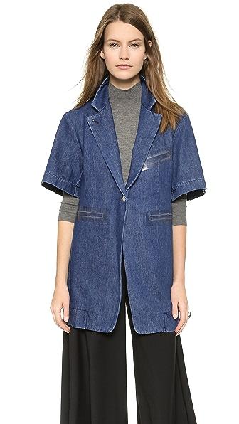 Джинсовая куртка-тренч MM6 Maison Martin Margiela. Цвет: голубой