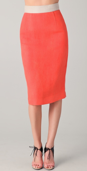 Michael Angel Contrast Pencil Skirt