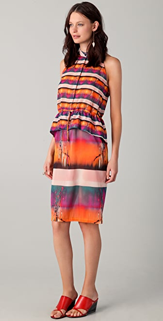 Michael Angel Sleeveless Peplum Midi Dress