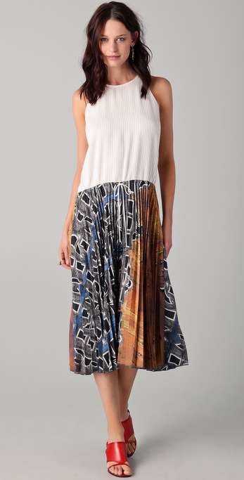 Michael Angel Drawstring Accordion Midi Dress
