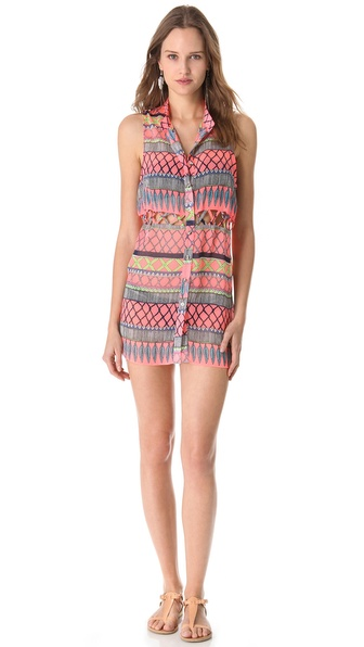Mara Hoffman Frida Lattice Tunic Cover Up