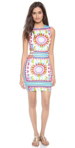 Shop Mara Hoffman online and buy Mara Hoffman Mini Dress - Cutouts create a sliced effect on this geometric-print Mara Hoffman dress. Double-layered.  Fabric: Soft jersey. 95% rayon/5% spandex. Hand wash. Imported, China.  MEASUREMENTS Length: 33in / 84cm, from shoulder - Shakti White