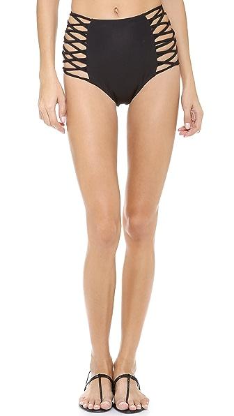 Mara Hoffman Lattice High Waisted Bikini Bottoms